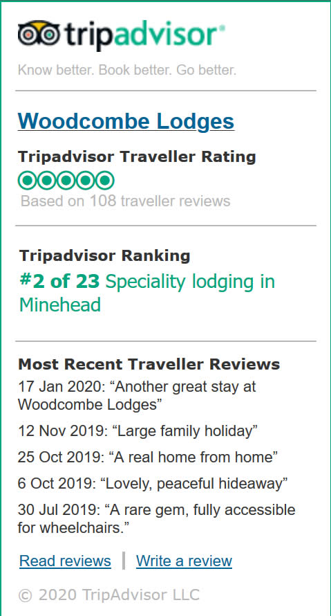 Woodcombe Lodges Trip Advisor Reviews